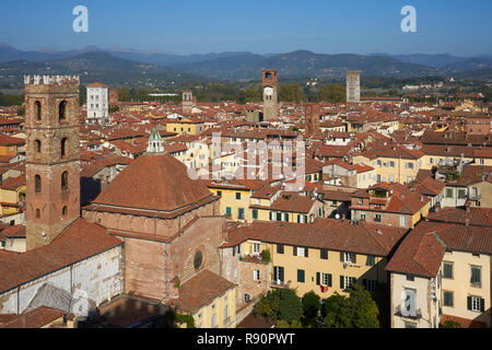 Lucca, Italy: aerial view over rooftops to Torre delle Ore and hills from Cattedrale di San Martino - Stock Photo