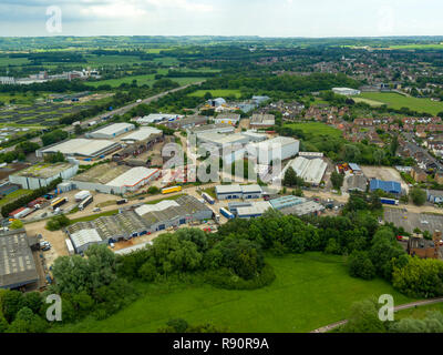 Aerial view of Henwood industrial estate, Ashford, Kent, UK - Stock Photo