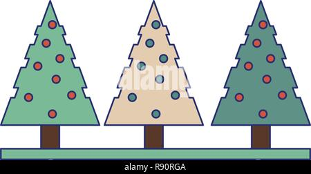 Christmas trees isolated - Stock Photo