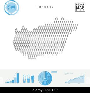 Hungary People Icon Map  People Crowd in the Shape of a Map