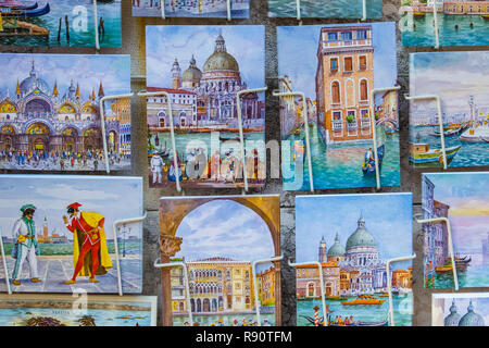Venice, Italy - October 29, 2016: Postcards or sale in Venice Italy - Stock Photo