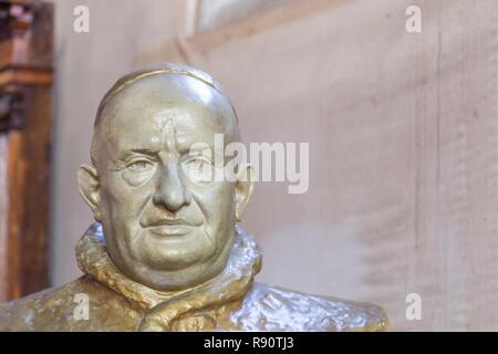 Murano Venice, Italy - October 29, 2016: Bust of Itlaian Pope Saint John XXIII in a church on Murano Island in Venice Italy.  Pope from 28 October 1958 to his death in 1963. - Stock Photo