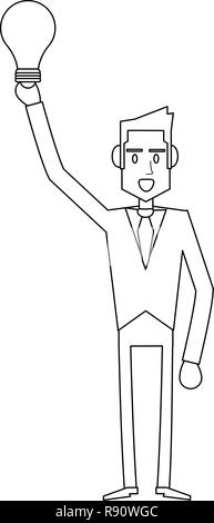 Businessman successful entrepreneur in black and white - Stock Photo