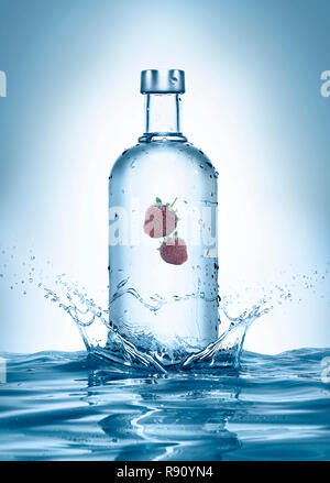 wet transparent clean alcohol bottle with water splashes and drops, isolated on white background, studio photo - Stock Photo