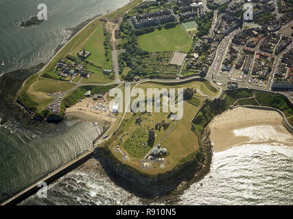Aerial photo of Tynemouth North Shields Newcastle showing the Priory and Castle and pier - Stock Photo