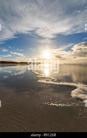 Wide angle shot of the ebb and flow of the sea on Ard Michel beach, South Uist, Outer Hebrides, Scotland - Stock Photo