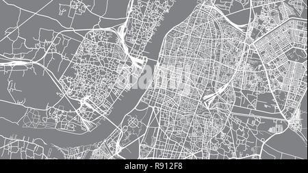 Urban vector city map of Kolkata, India - Stock Photo