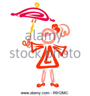 Girl with a tail on her head and an umbrella in his hand - Stock Photo