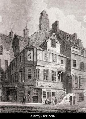 John Knox's House, High Street, Edinburgh, Scotland, 19th century, Views in Edinburgh by J. & H. S. Storer - Stock Photo