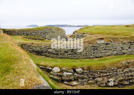 Jarlshof settlement not far from Lerwick. Settled from approximately 2500 to 17th century - Stock Photo