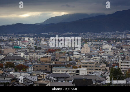 View of Kyoto from the mountain, Kyoto, Japan, East Asia, Asia - Stock Photo
