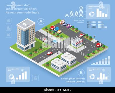 Urban district of the city in isometric landscape town infrastructure of houses, streets and buildings - Stock Photo