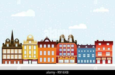 Urban village Christmas decorated design street winter landscape. Night City Snowy with houses snowfall Happy Holidays banner. Decorative flat cartoon - Stock Photo