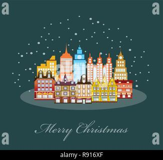 Urban village Christmas decorated design street winter landscape. Night City Snowy with houses. Xmas snowfall Happy Holidays banner. Decorative flat c - Stock Photo