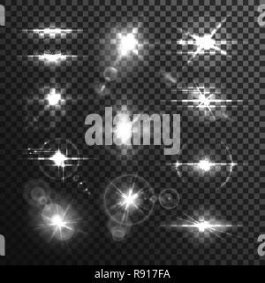 Lens white beamor star flare light effect - Stock Photo
