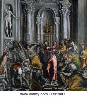 Jesus Driving the Merchants from the Temple - 1610/14 - 106x104 cm - oil on canvas. Author: GRECO, EL. Location: IGLESIA DE SAN GINES. MADRID. SPAIN. - Stock Photo
