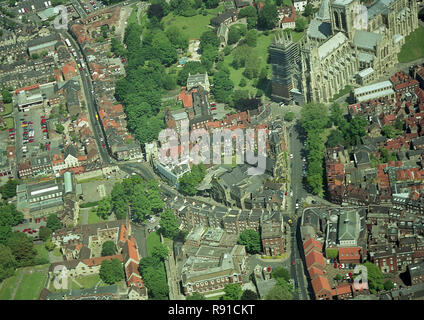 Aerial photo of the City of York showing York Minster - Stock Photo