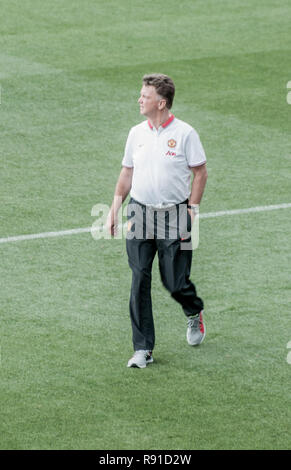 Louis Van Gaal photographed during a match Manchester United vs AS Roma. - Stock Photo
