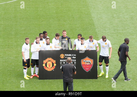 Manchester United vs AS Roma during competition in USA. - Stock Photo
