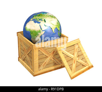 Planet the Earth in a wooden box. Object over white - Stock Photo