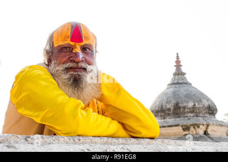 Hindhu Sadhu ( holy man ) at Pashupatinath temple, Kathmandu, Nepal - Stock Photo