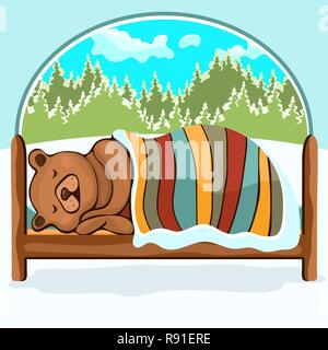 Bear in hibernation hand drawing, cartoon character, vector illustration, caricature. Colorful painted comical cute funny teddy bear lying on the bed  - Stock Photo