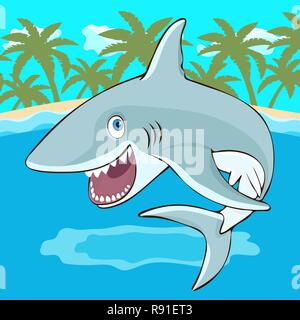 Shark jumps out of the water cartoon character, vector illustration, caricature. Colorful painted cute funny fish shark with open mouth and smile on t - Stock Photo