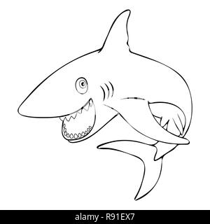 Shark jumps out of the water cartoon character, vector