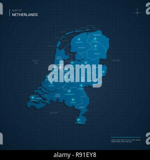 Vector Netherlands map illustration with blue neon lightpoints - triangle on dark blue gradient background. - Stock Photo