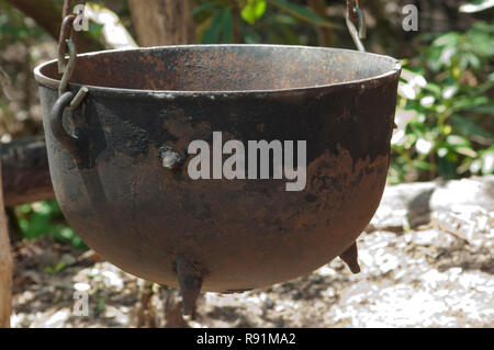 Iron outdoor cookpot, Qualla Cherokee Reservation, North Carolina. Digital photograph - Stock Photo