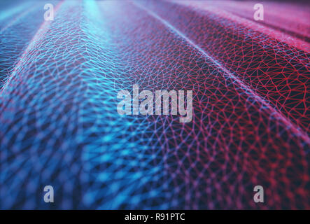 3D illustration. Abstract background image. Colored mesh, interconnected lines.