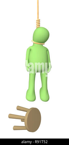 3d person puppet, hanging in a rope loop Stock Photo