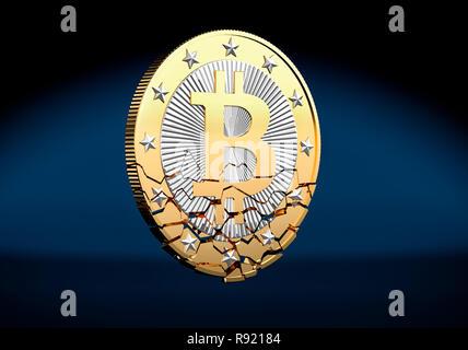 Bitcoin shattered - Stock Photo