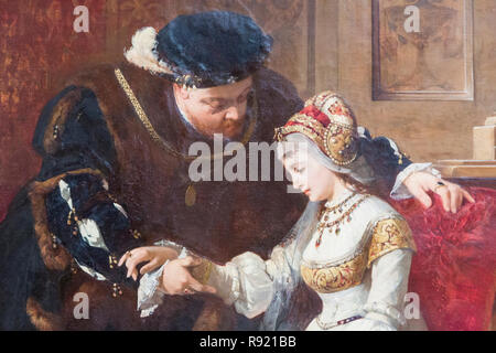 First Meeting Between Henry the Eighth and Anne Boleyn.  Henry VIII, 1491 – 1547. King of England. Anne Boleyn, c. 1501-1536.  Queen of England as the - Stock Photo