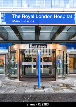 Main entrance at the new Royal London Hospital building in Whitechapel in London - Stock Photo