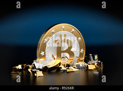Bitcoin shattered - Stock Photo