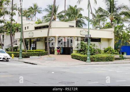 Waikiki, Hawaii - 25 May 2016: Exterior view of a Whalers general store, a one stop shop for Hawaiian souvenirs, snacks, sunscreen, and everything els - Stock Photo