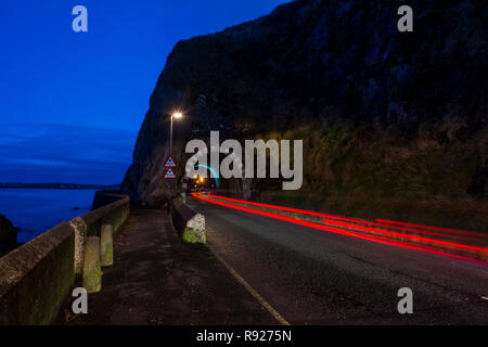 The Black Arch Larne County Antrim Northern Ireland  Night Shoot Light Trails - Stock Photo