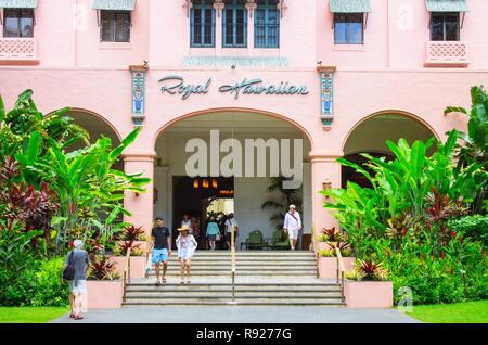 Waikiki, Hawaii - 25 May 2016:  Outside the Royal Hawaiian Hotel, an iconic beachfront luxury hotel located in Honolulu on the island of Oahu. - Stock Photo
