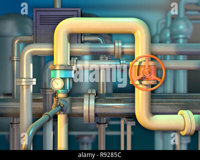 Industrial piping with shut off valve and a monitoring gauge. 3D illustration. - Stock Photo