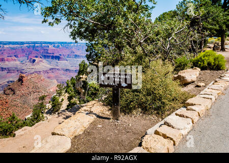 Bright Angel Trail and Rim Trail sign, Grand Canyon National Park South Rim, Arizona, USA - Stock Photo