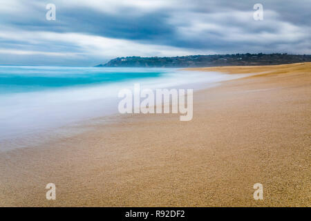 Tunquen Beach in Valparaiso region and close to Algarrobo, an awesome and wild beach with a lot of wildlife because of it wetlands and turquoise water - Stock Photo