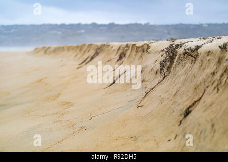 Sand dune facing Pacific Ocean waters at Tunquen Beach in Valparaiso region, an awesome and wild beach with a lot of wildlife because of it wetlands - Stock Photo