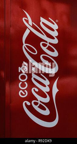Eco Coca Cola logo on a vending machine in the streets of Otaru. Hokkaido, Japan. - Stock Photo