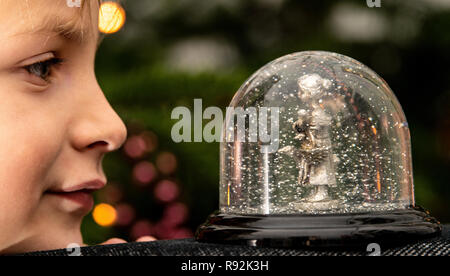 18 December 2018, Lower Saxony, Göttingen: A boy looks at a snow globe with the Gänseliesel. The original Göttinger Gänseliesel from 1901 is the landmark of the university town and adorns the fountain in front of the town hall. (to dpa 'From Steckenpferd to Löwenhelm - this is how Niedersachsen markets itself' from 19.12.2018) Photo: Swen Pförtner/dpa - Stock Photo