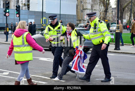 London, 19th December 2018. Pro Brexit supporters (who last week blocked Westminster Bridge) stop a car leaving the Houses of Parliament before moving out to block the road Credit: PjrFoto/Alamy Live News - Stock Photo