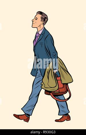 businessman walking, walk around the city. Pop art retro vector illustration vintage kitsch - Stock Photo