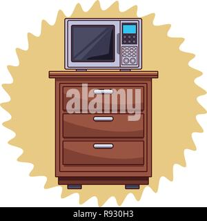 Microwave on kitchen cabinet - Stock Photo