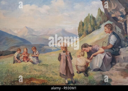 Family image that stands on mountain meadows, horizontal image - Stock Photo