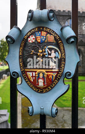 Coat of arms of St. Patrick's Cathedral in Dublin - Stock Photo